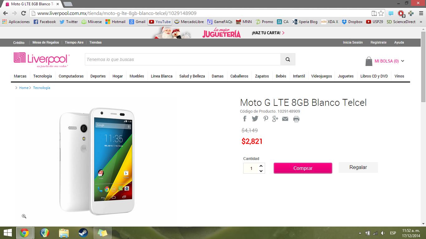 Liverpool en línea: Motorola Moto G LTE 8GB a $2,821