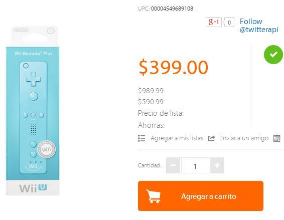 Walmart: Wii remote plua Azul o Rosa $399 y envió gratis