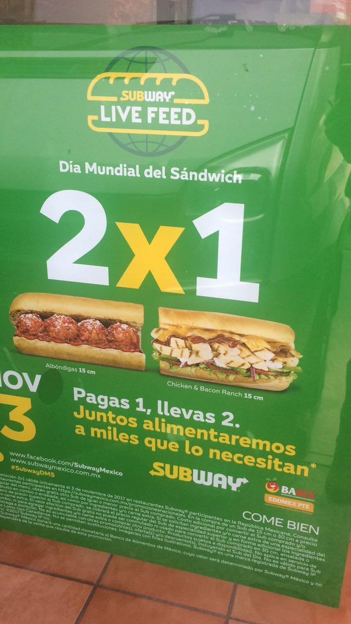 Subway: 2x1 EN EL DÍA MUNDIAL DEL SÁNDWICH 3 de noviembre