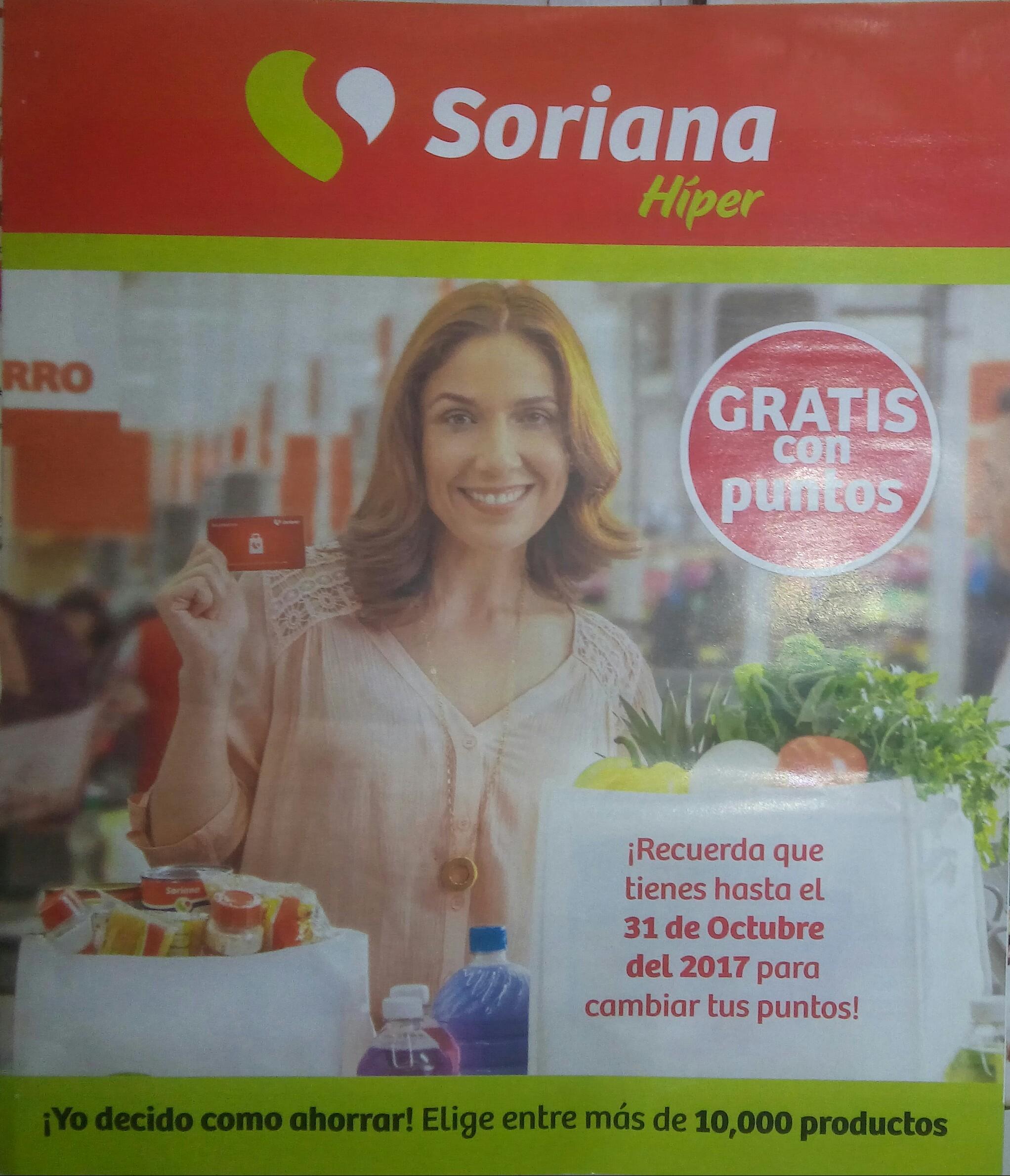 Soriana hiper: folleto para llevarte productos gratis con tus puntos