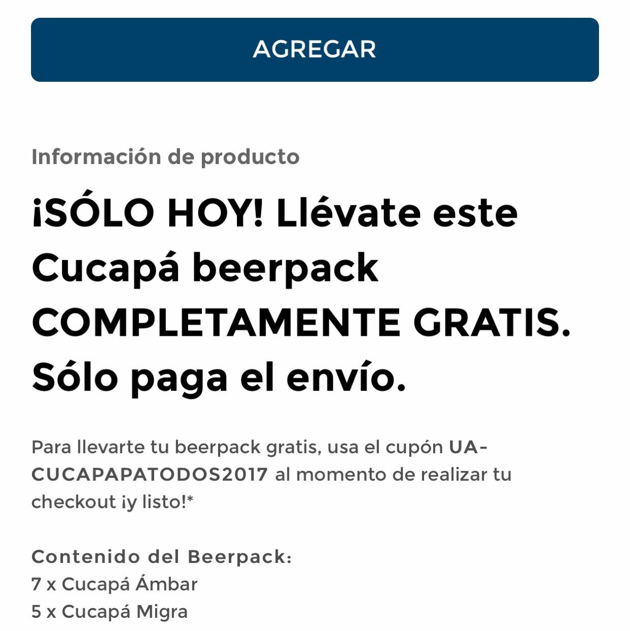 BeerHouse: cerveza MX CUCAPA 12 pack gratis pagando el envío