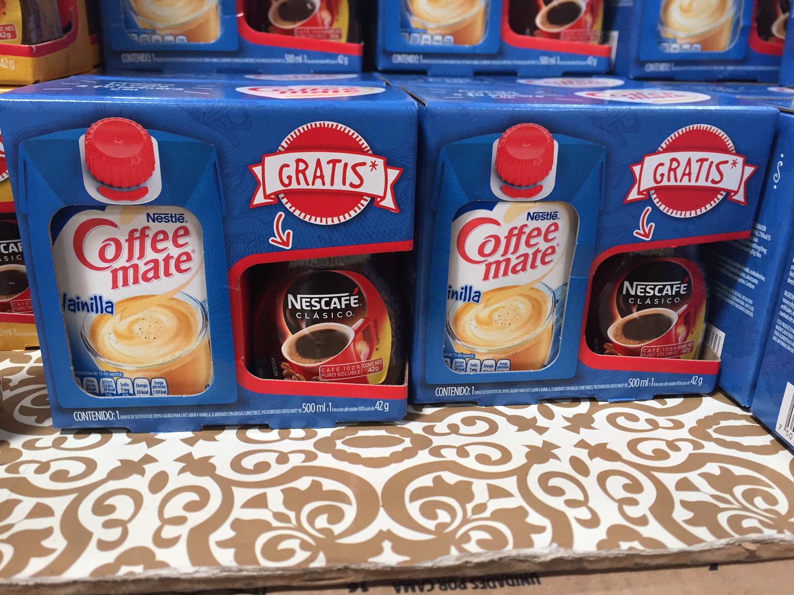 Walmart Zamora, Mich.: Coffe Mate 500 ml $26.00, Gratis Nescafe 60 gr y otras ofertas
