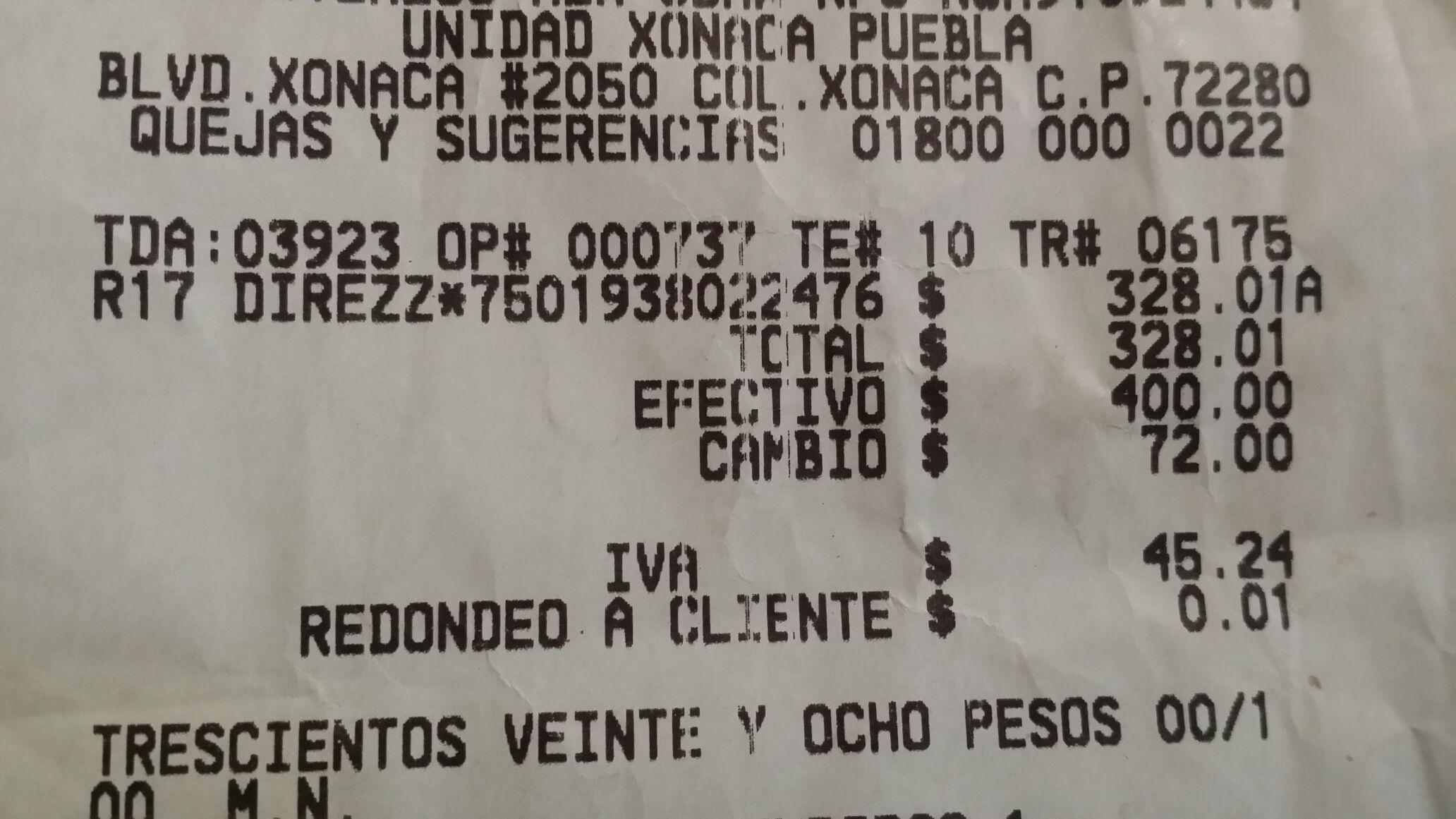 Bodega Aurrerá: Llanta rin 17 $328 y rin 16 $298