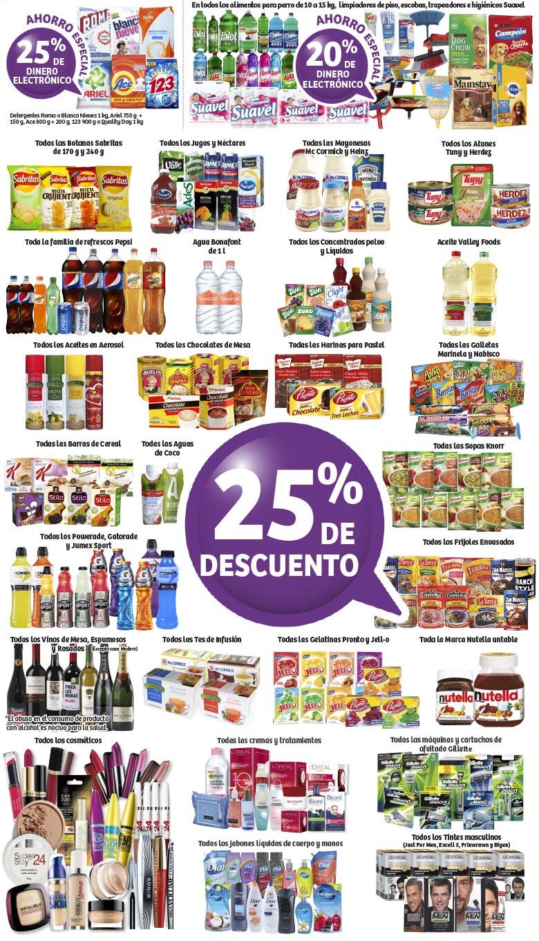 Soriana Híper: 25% de descuento en diversos artículos de abarrotes; 25% y 20% de dinero electrónico en diversos artículos