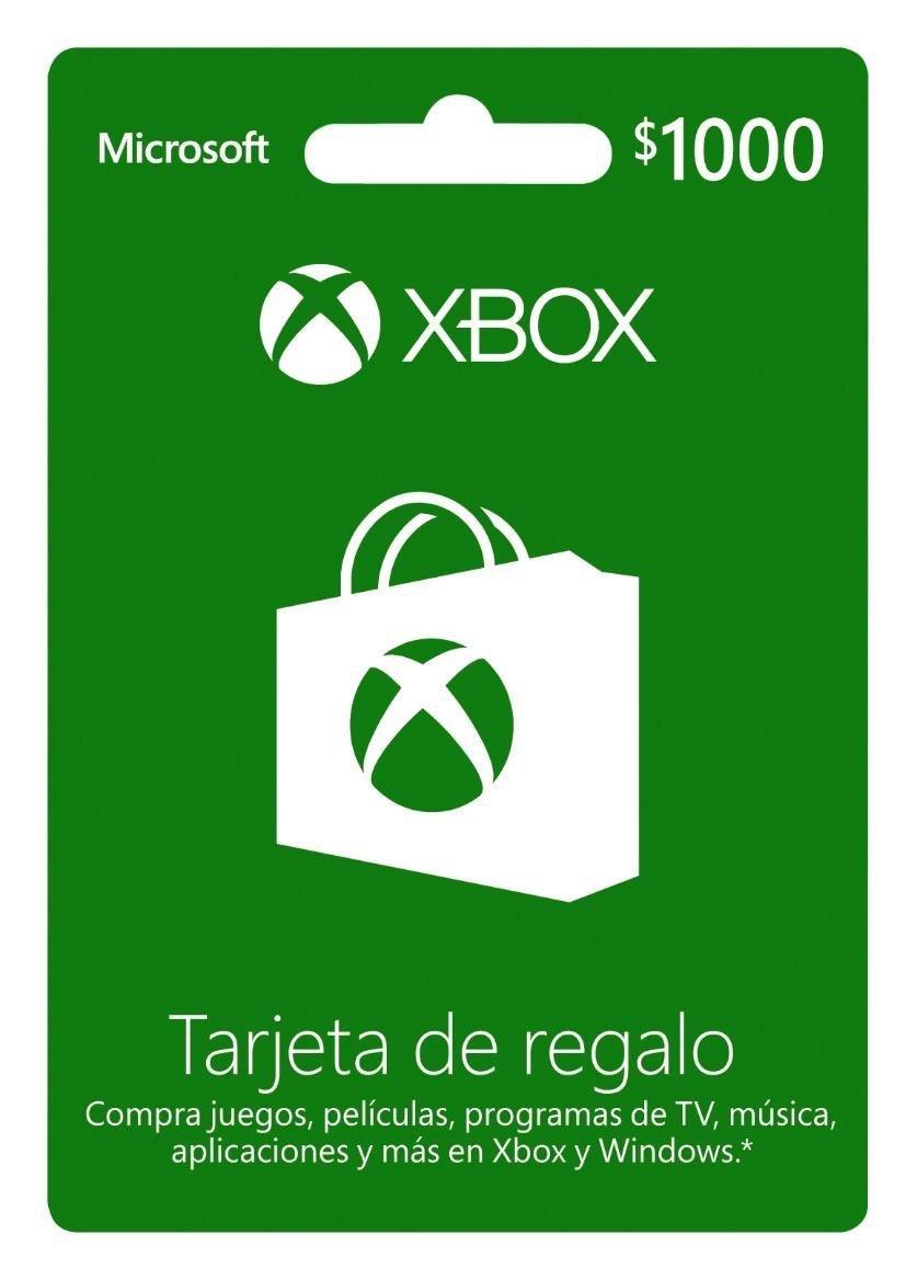 Amazon Mx: Tarjeta Xbox Live de $1000 con 20% de descuento