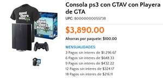 Walmart: PS3 250GB con Grand Theft V + playera $3,890 ó $3,501 y más