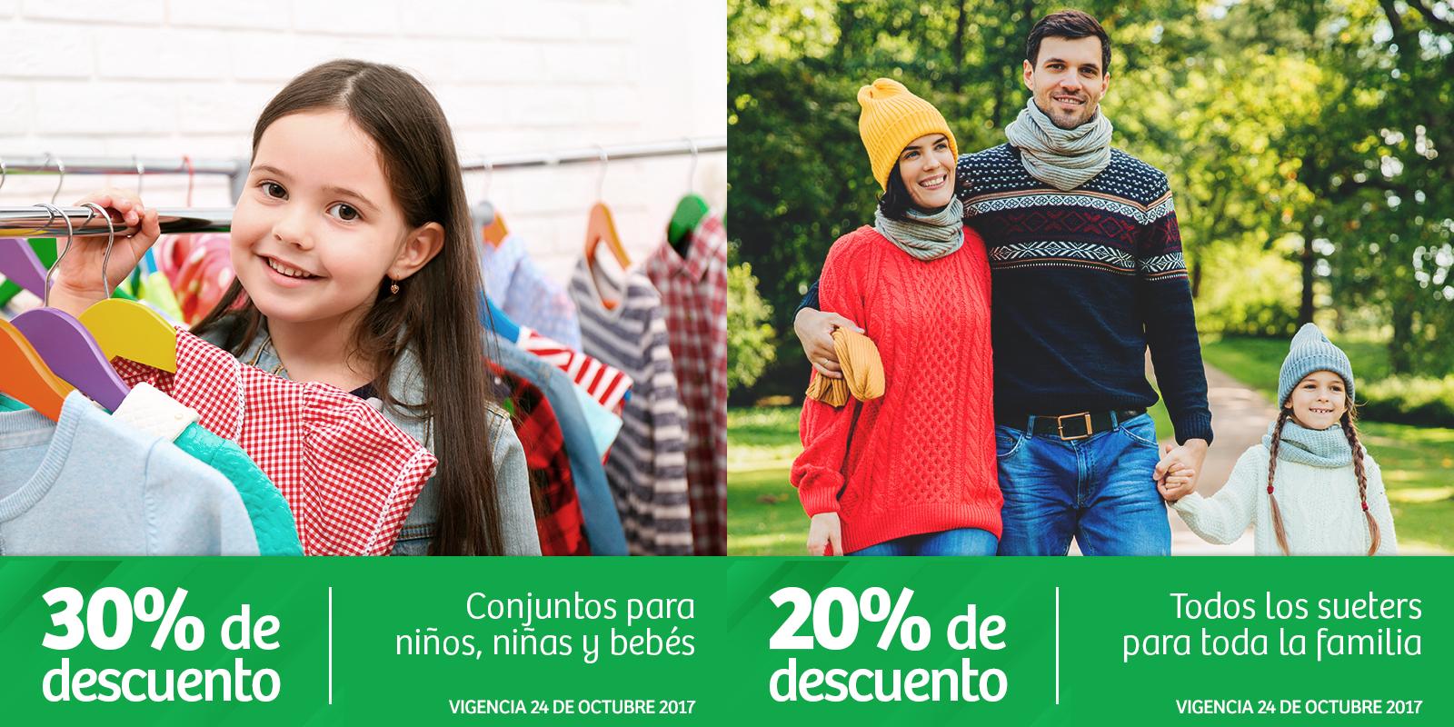 Soriana Híper: 30% de descuento en conjuntos para niños, niñas y bebés... 20% de descuento en todos los suéteres para toda la familia