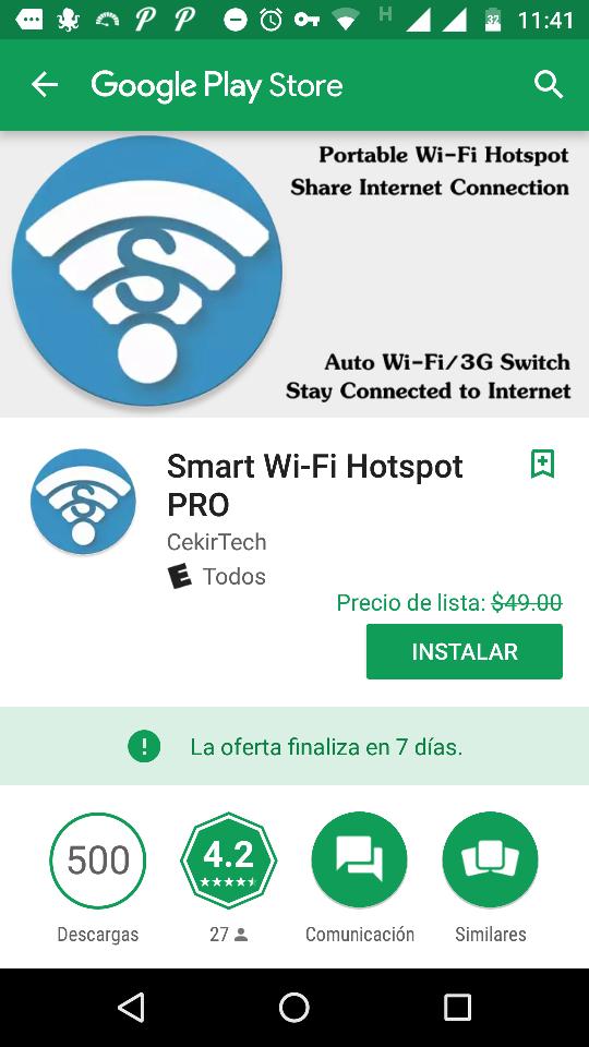 "Google Play: GRATIS   ""Smart Wi-Fi Hotspot PRO""."