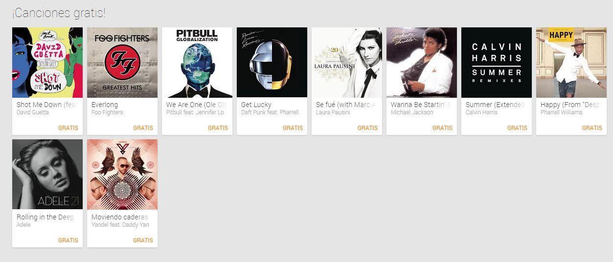Canciones Gratis en Google Play (Michael Jackson, Pitbull, Daft Punk y más)