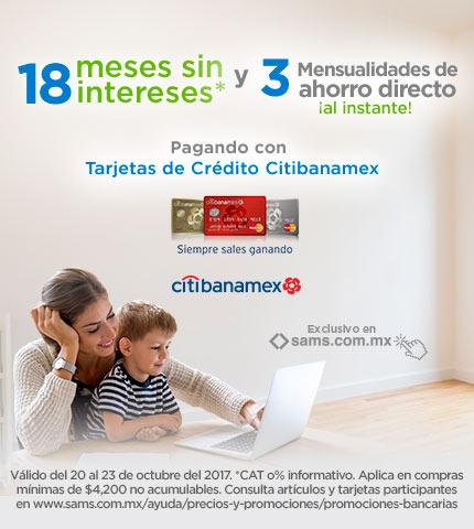Sam's Club: 18 meses sin intereses + 3 mensualidades de ahorro directo en precio al comprar en línea