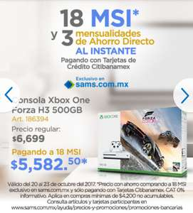 Sam's Club: con Banamex, Consola Xbox One S 500 GB Forza Horizon 3