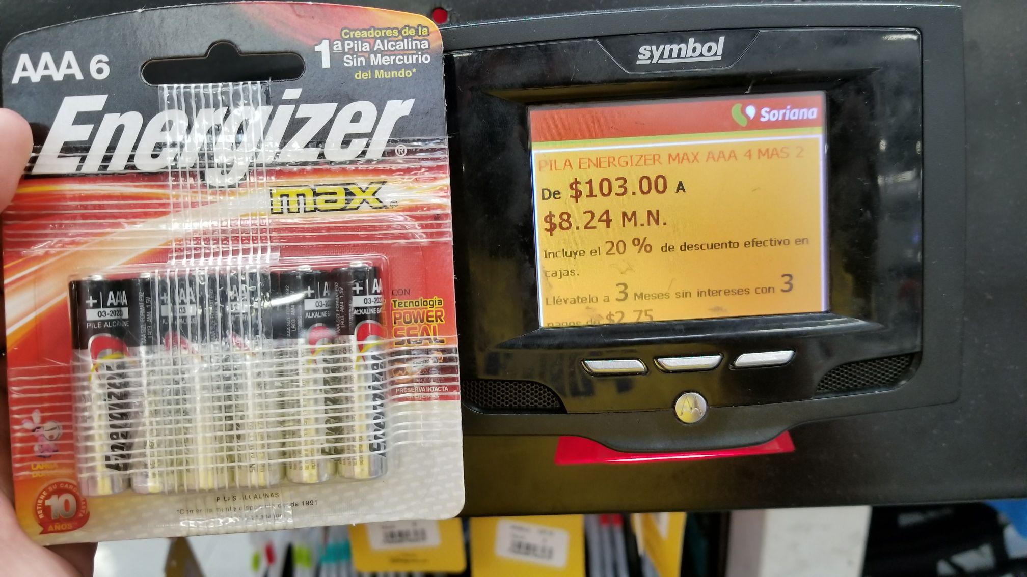Soriana: Pilas energizer maxx AAA