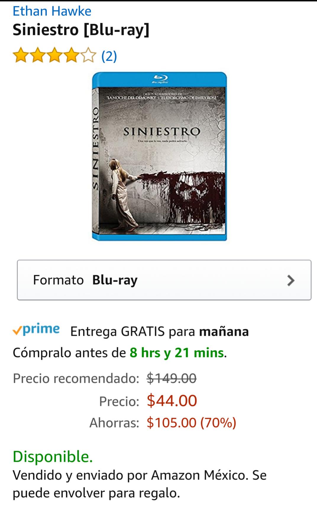 Amazon México: Blu-ray Siniestro, Prime