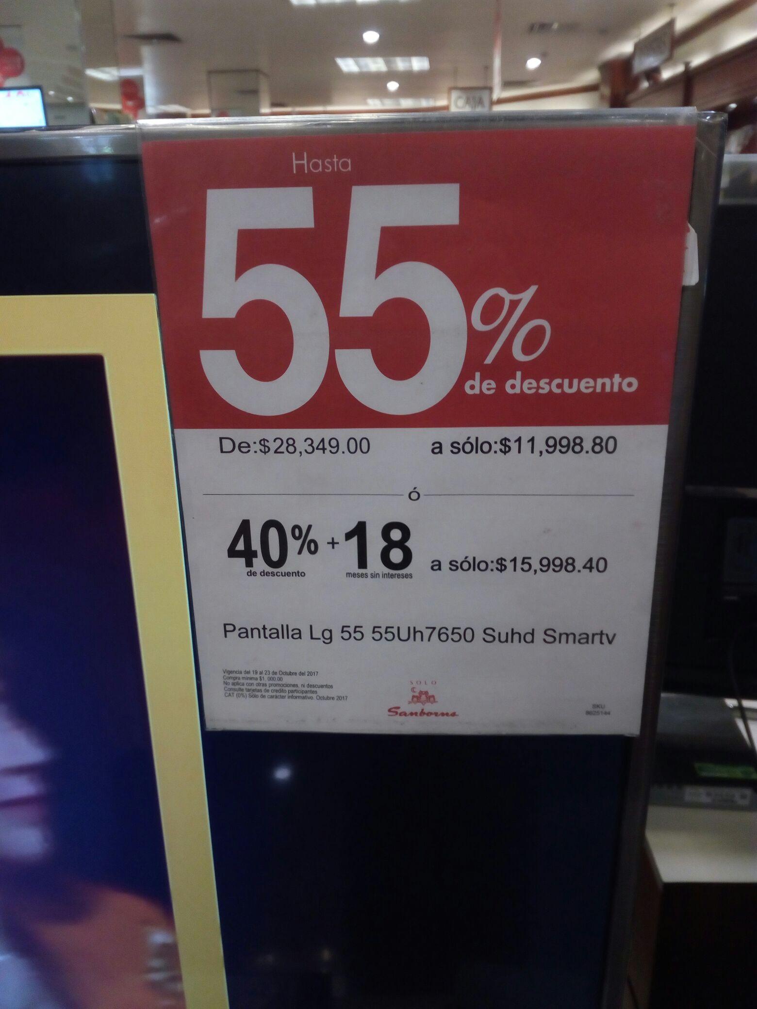 Sanborns: Pantalla LG 55Uh7650 SUHD