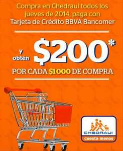 Chedraui: $200 de bonificación por cada $1,000 los jueves con Bancomer