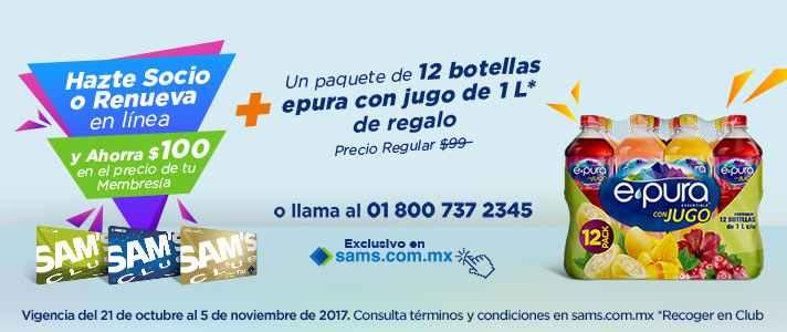 Sam's Club: $100 pesos de descuento en membresia sams + un paquete de botellas de agua epura con valor de $99