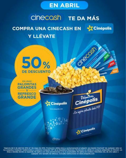 Cinépolis: palomitas y refresco a mitad de precio al comprar tarjeta Cinecash