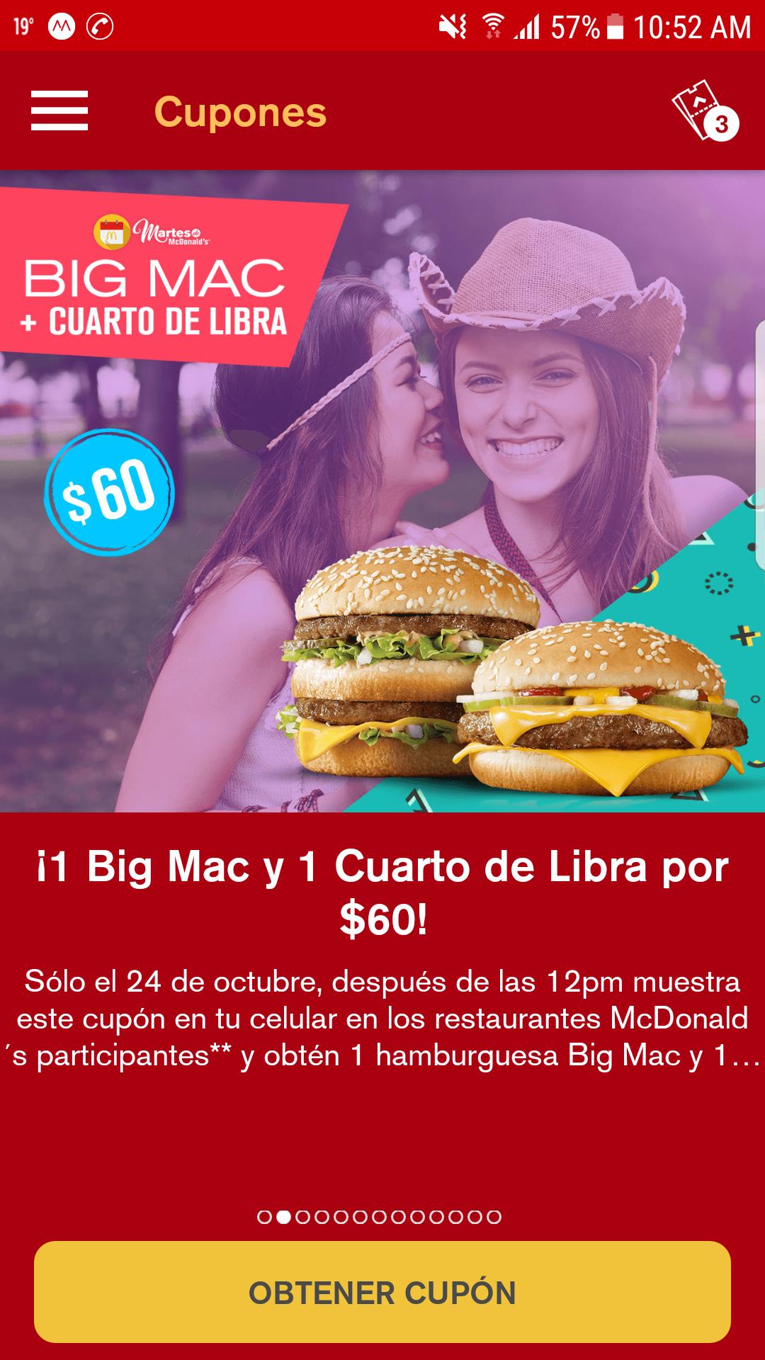 McDonald's: cupón para BIG MAC + Cuarto de Libra por $60