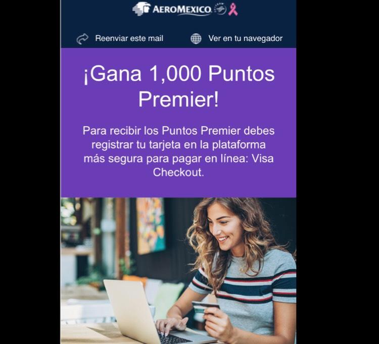 AeroMéxico: 1000 Puntos premier gratis al registrarte en visa Checkout