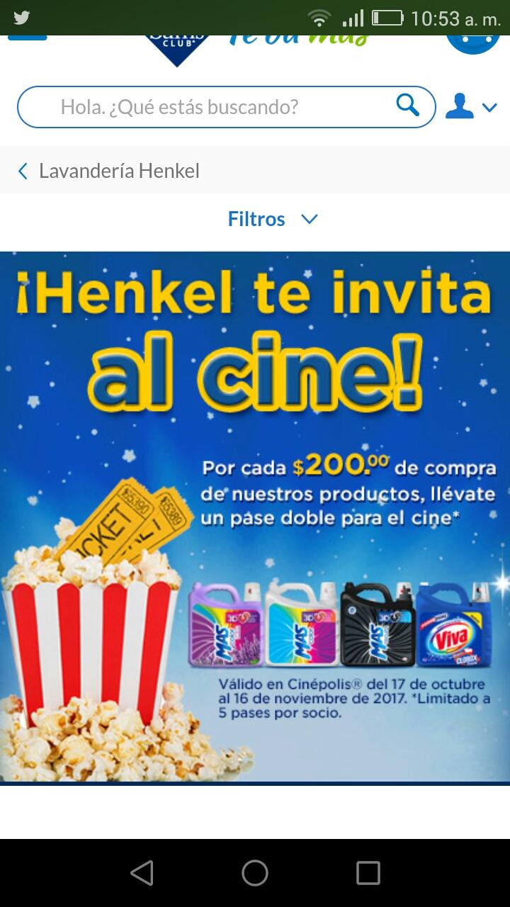 Sam's Club: en la compra de $200 de productos Henkel recibe pase doble para el cine