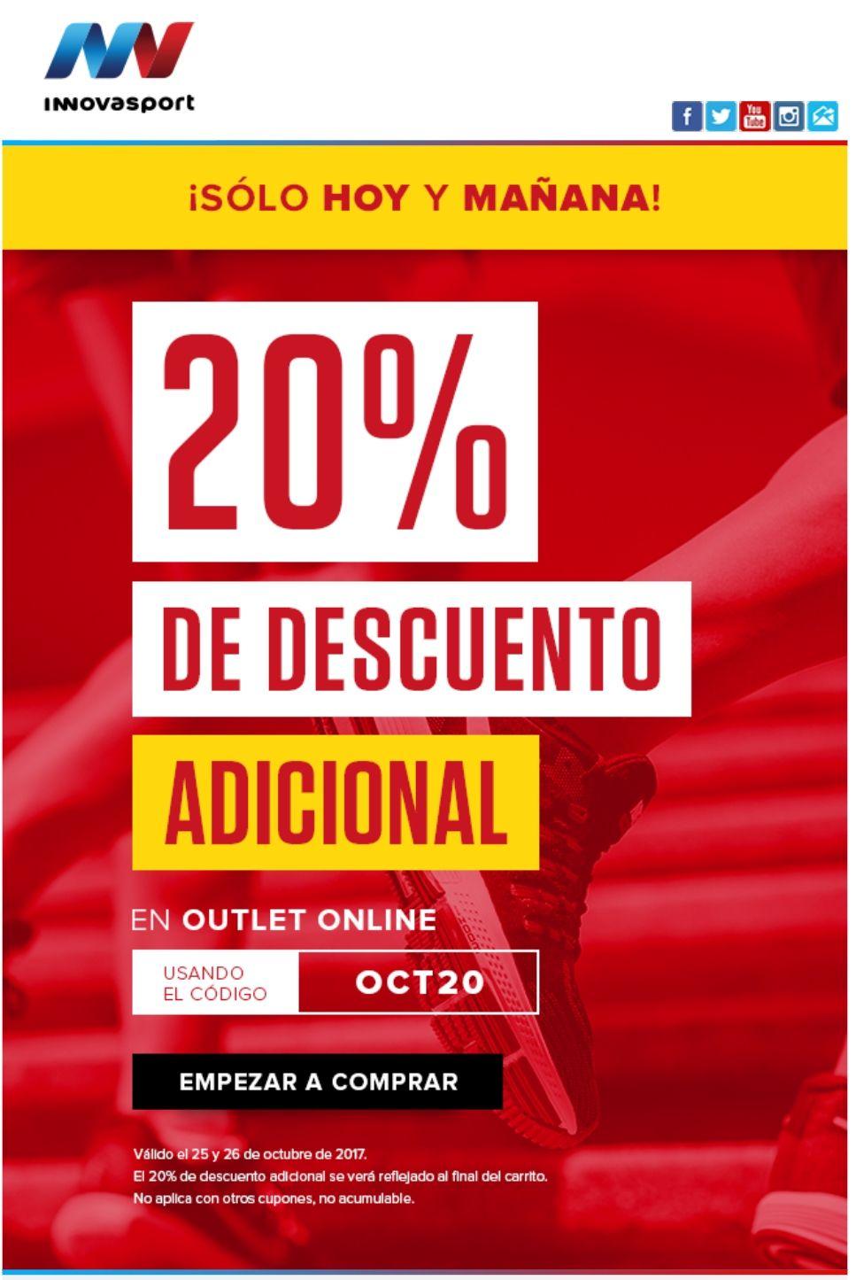 Innovasport: 20% de Descuento adicional en OUTLET