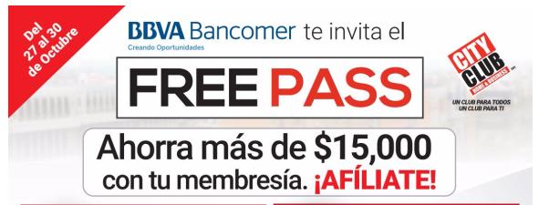 City Club: Free pass con descuentos, Renueva o adquiere tu membresía por $200 con tarjeta de credito BBVA Bancomer