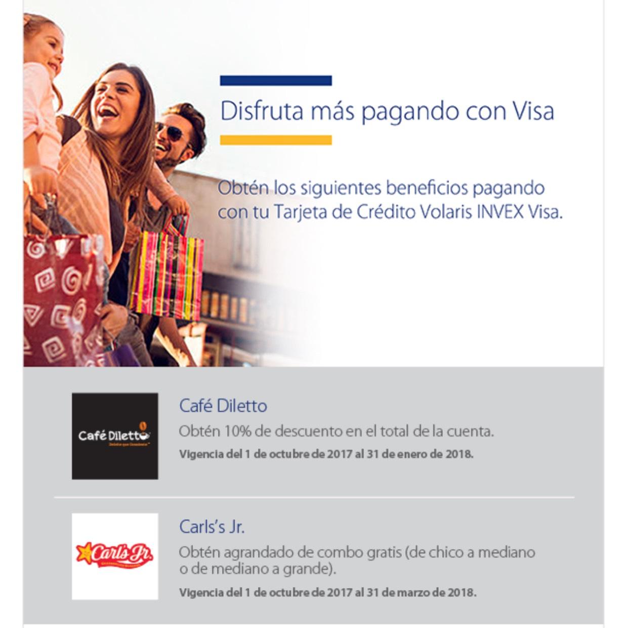 Carl's Jr.: Aumento de combo Gratis al pagar con tarjeta Volaris Invex visa