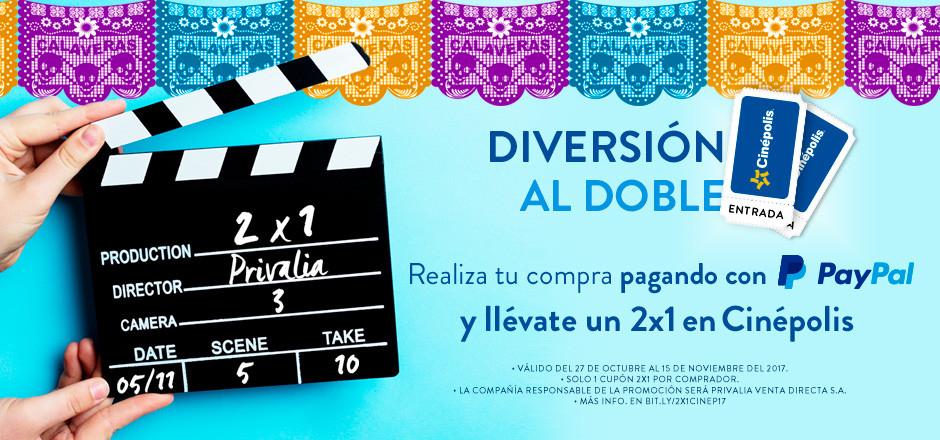 Privalia: Boleto cinepolis 2x1 con PayPal