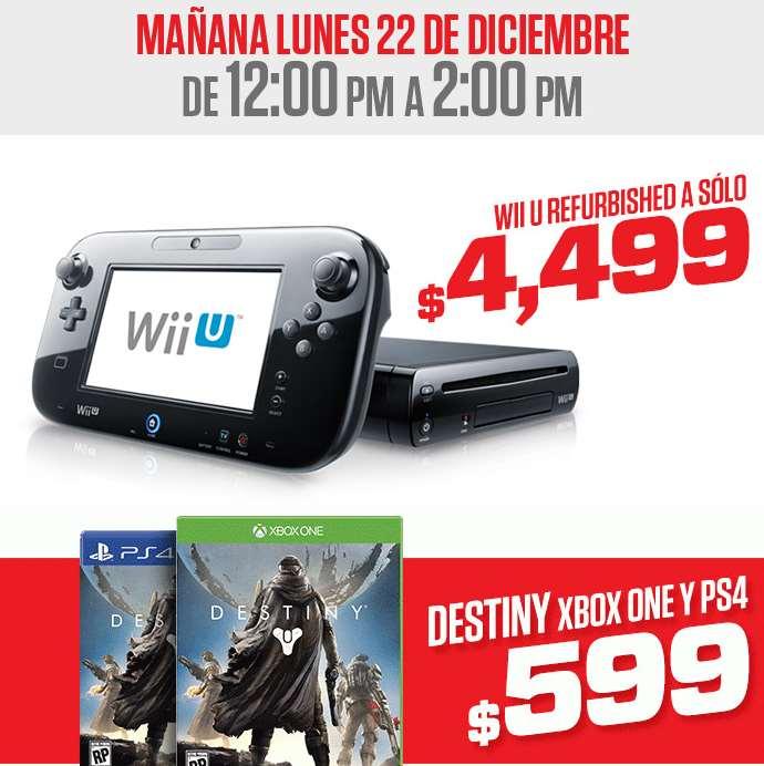 Gamers: Wii U deluxe reacondicionado $4,499, Destiny desde $499 (por 2 horas)