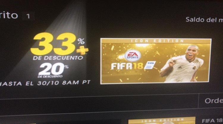 PSN Plus: PS4 FIFA18 20% descuento. 40 USD