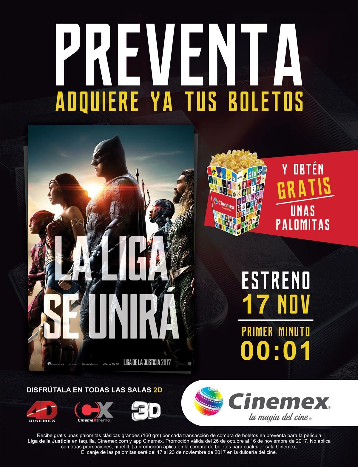 Cinemex: Palomitas grandes GRATIS comprando boletos para La Liga de la Justicia