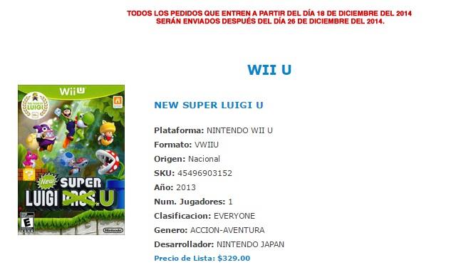 Mixup: New Super Luigi U $329, Borderlands 2 $249, Arkham City GOTY $279 y más. Envio $39 extra.
