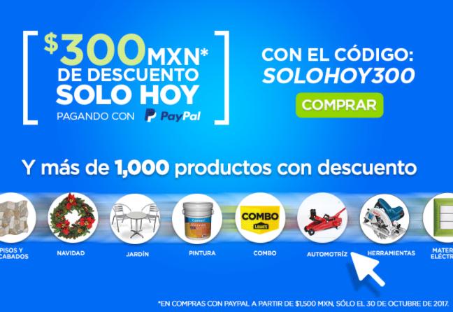 LOWES: CUPON DESCUENTO $300 PESOS CON PAYPAL (MIN. $1500)