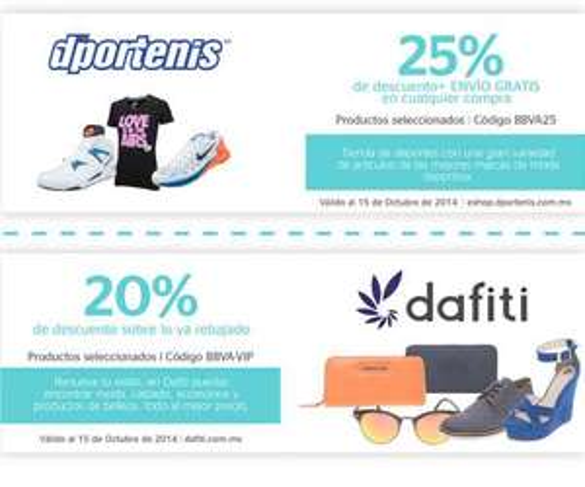 Cupón de de 25% para Dportenis y 20% de descuento para Dafiti con Bancomer