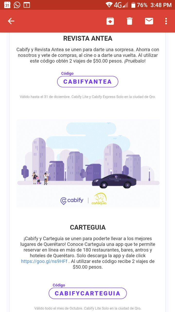 Cabify Qro: Cupones de descuento