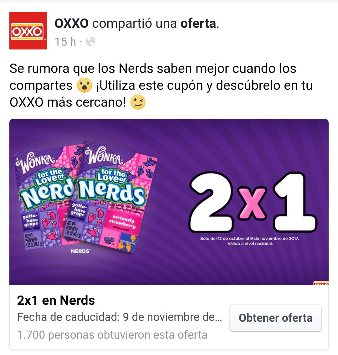 Oxxo: Cupón de nerds 2x1 (válido hasta el 9 de noviembre)