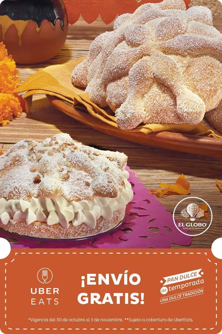 UberEats: Envío gratis en pedidos de pan de muerto de Pastelerías el Globo