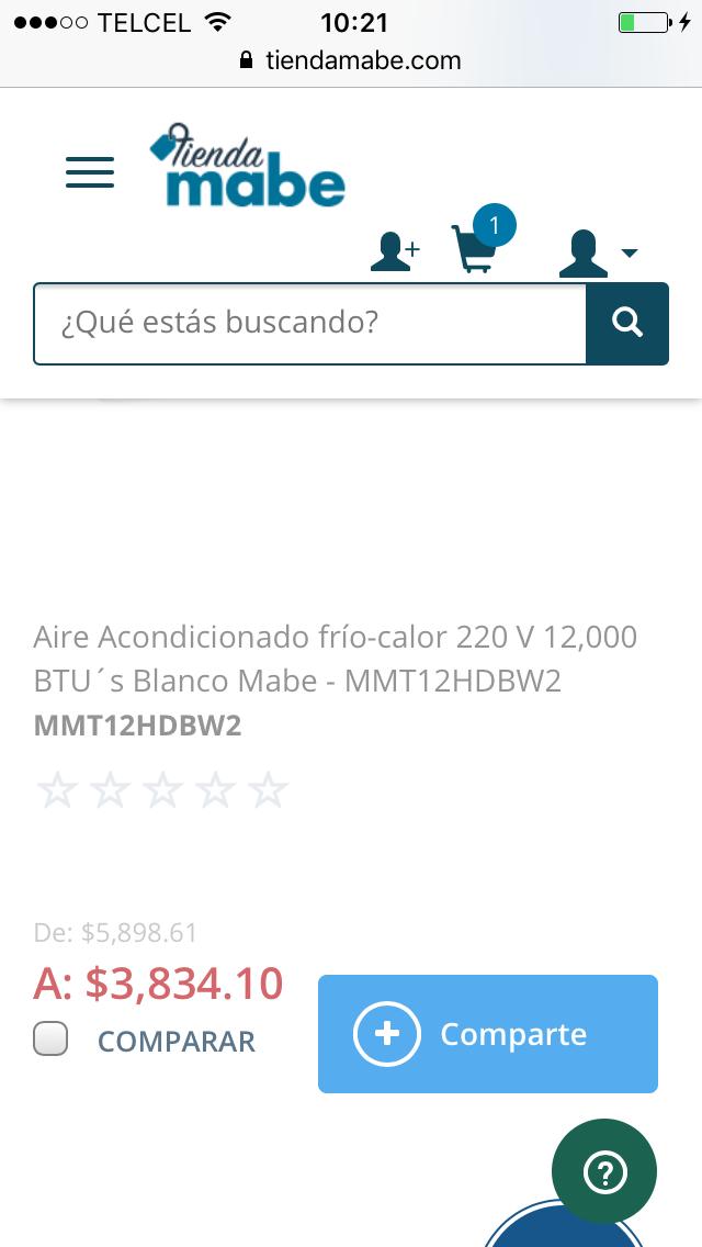 Tienda Mabe: mini split de 1 tonelada MMT12CDBWL
