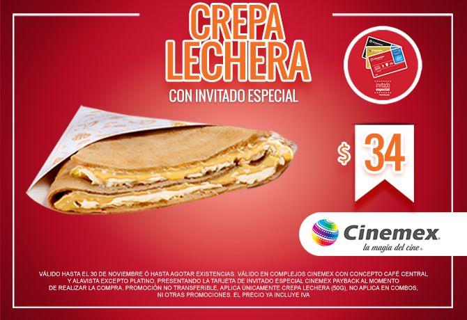 Cinemex: Crepa Lechera $34 con invitado especial.