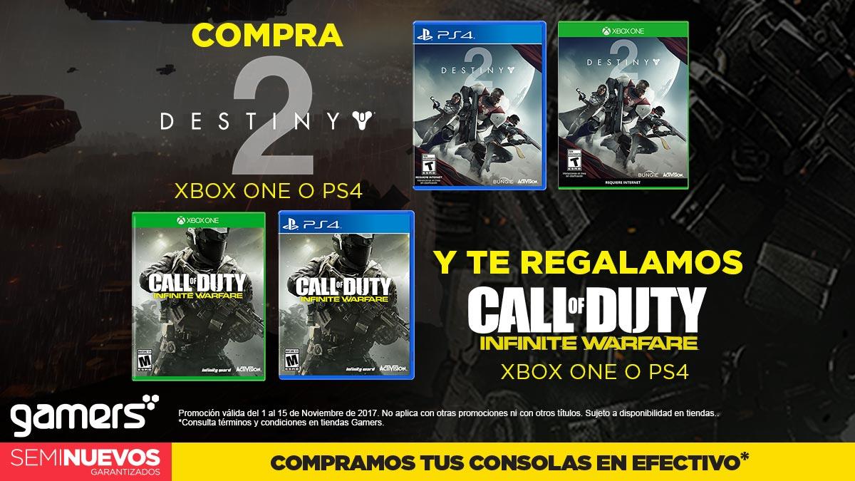Gamers: Compra Destiny 2 y te regalan Call of duty PS4 o xbox one
