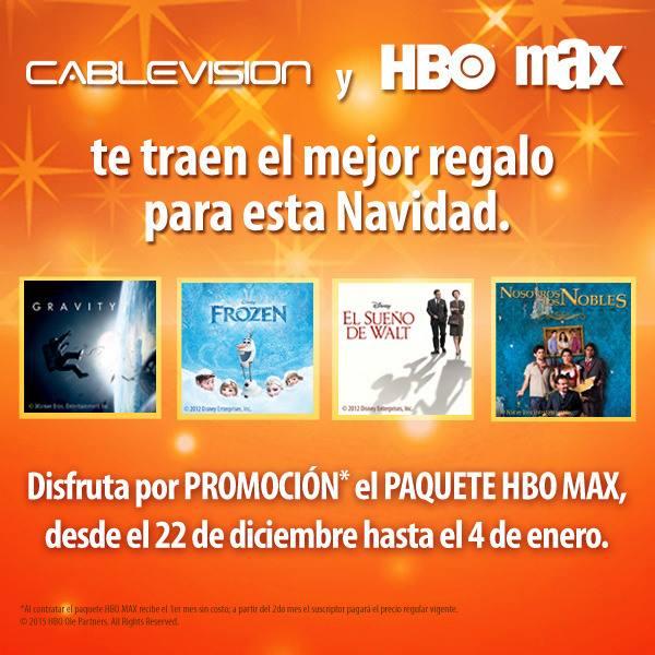 Cablevision Monterrey: Paquete HBO / MAX sin costo hasta el 4 de Enero