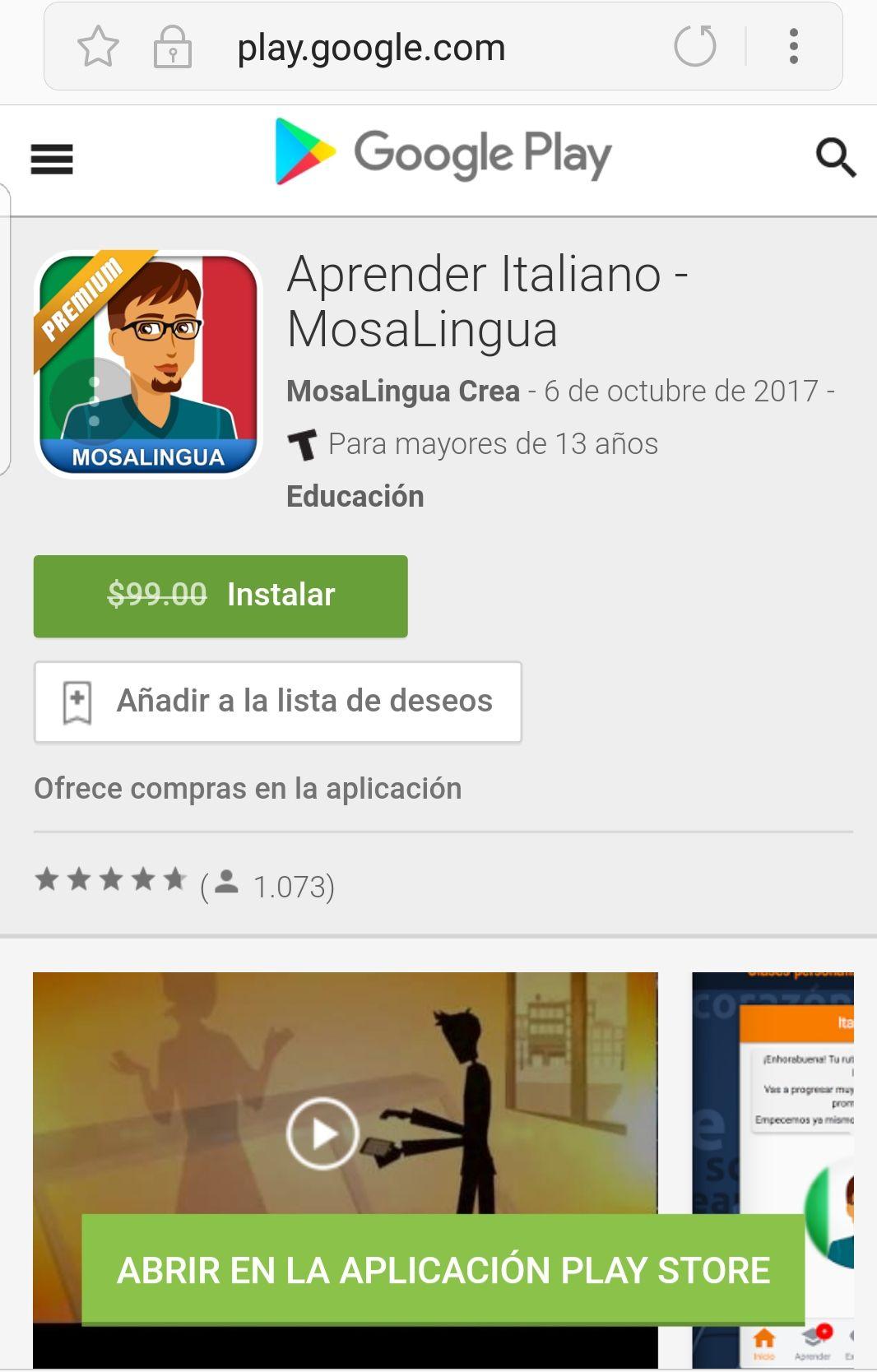 "Google Play - MosaLingua Aprender Italiano ""GRATIS"""
