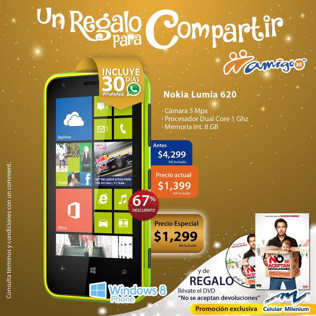 Telcel: Nokia 620 $1,299