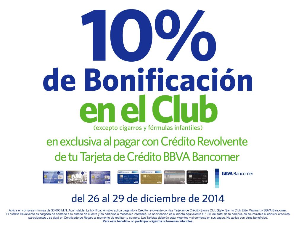 Sam's Club: 10% de bonificación al pagar con Bancomer. Compra mínima 3,000.