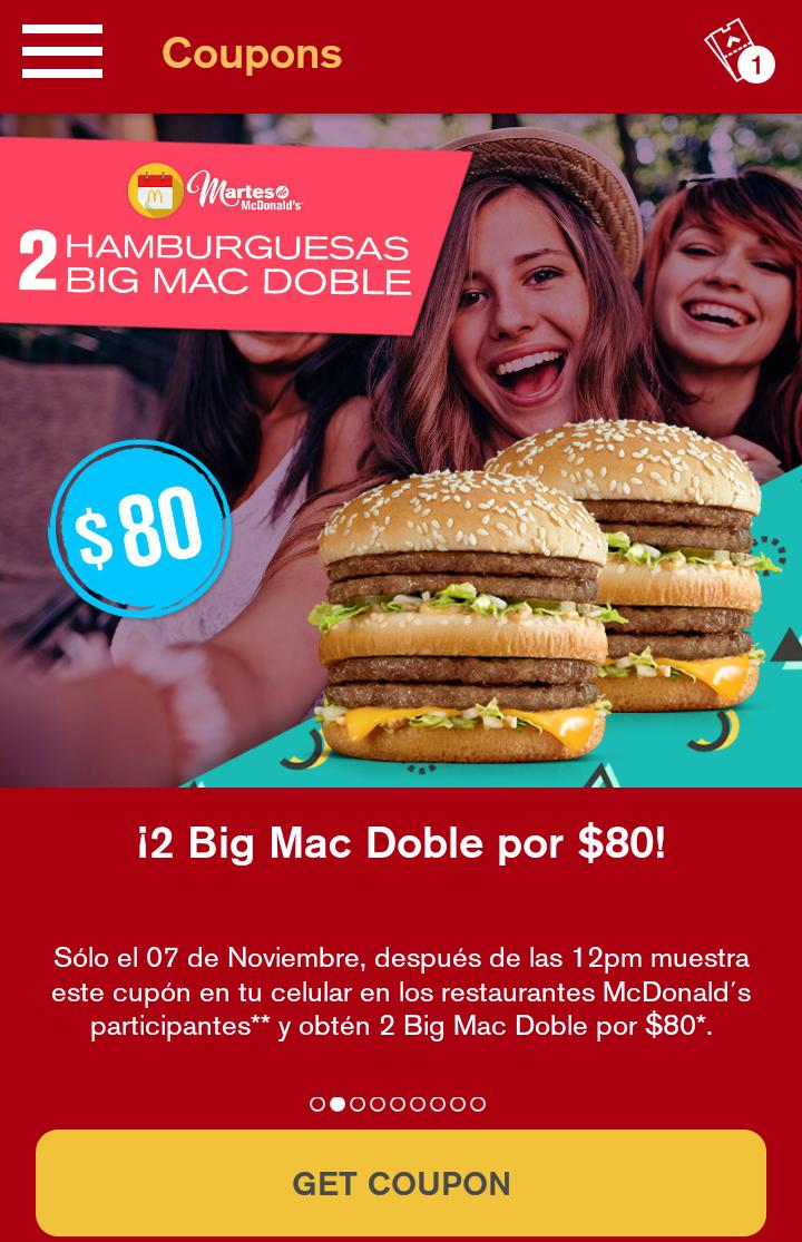 McDonald's: Martes de McDonald's dos bigmac dobles por $80