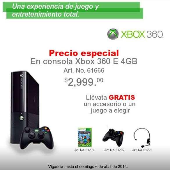 Office Depot: Xbox 360 4GB $2,999 y gratis control, diadema o juego