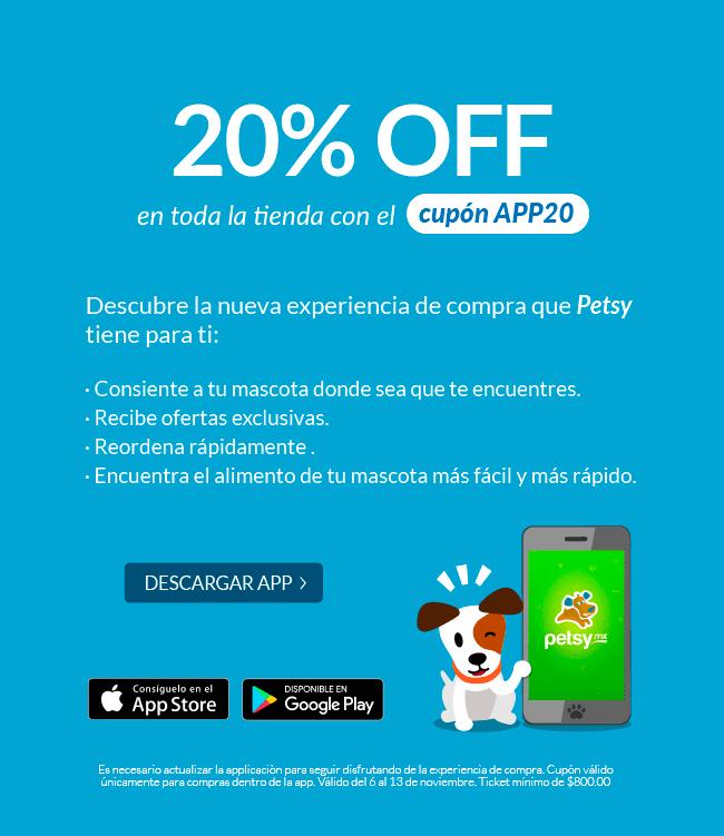 Petsy: Cupón -20% con su APP