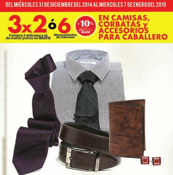Sears: 3x2 en pantalones, camisas, corbatas, trajes, cinturones y más