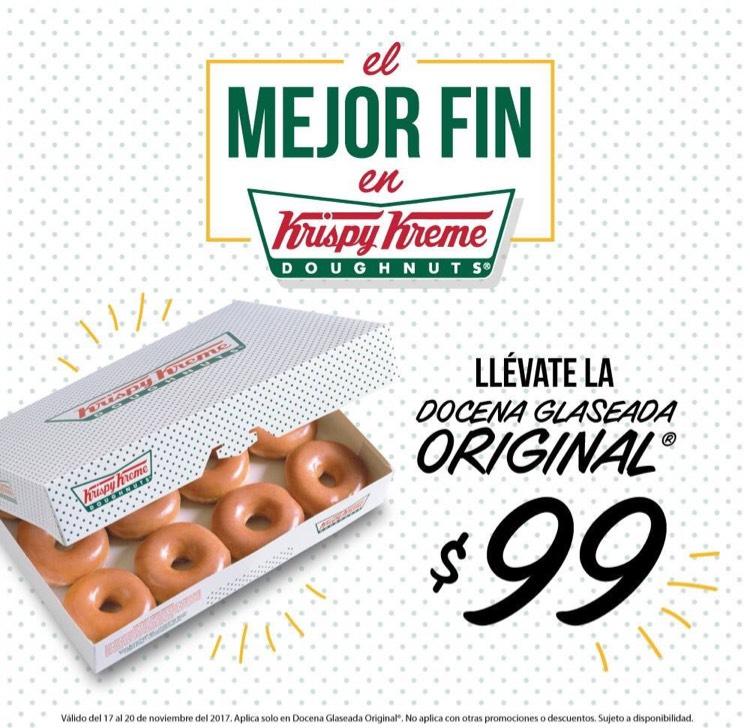 Ofertas Buen Fin 2017 Krispy Kreme: $99 docena glaseada