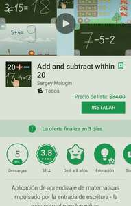 Google Play: Gratis. Add and subtract whithin 20